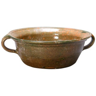 19th Century Rustic Handcrafted Green Glazed Stoneware Food Strainer For Sale