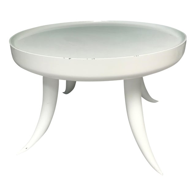 Jonathan Adler Lacquer Tusk White Coffee Cocktail Table - Image 7 of 7