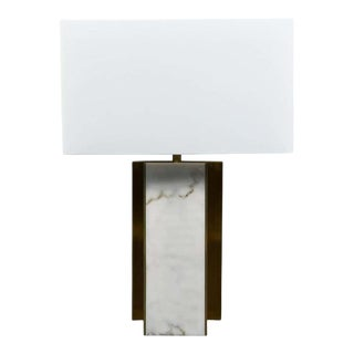Lorin Marsh Design Table Lamp Patinated Brass and Faux Alabaster Linen Shade For Sale