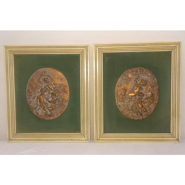 1950s Vintage Cherub Putti Bas Relief Plaques - a Pair For Sale - Image 12 of 12