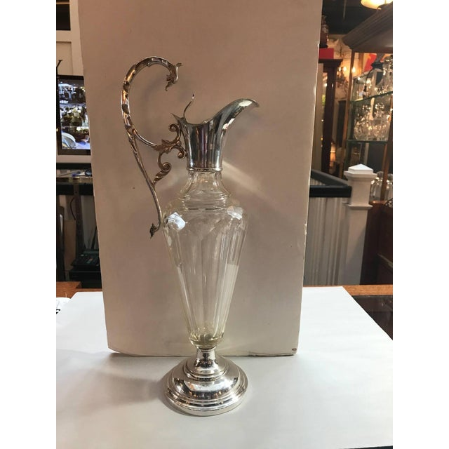 Glass Antique 19th Century Tall Silver Plated Wine Decanter Claret For Sale - Image 7 of 8