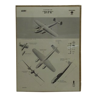 """Vintage WWii Aircraft Recognition Poster German """"Dornier-217e"""", 1942"""
