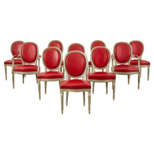 Set of Ten French Louis XVI Style Painted Dining Chairs For Sale - Image 13 of 13