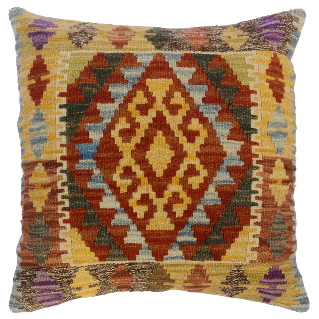 """Christop Gold/Lt. Blue Hand-Woven Kilim Throw Pillow(18""""x18"""") For Sale In New York - Image 6 of 6"""