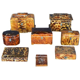 Set of Eight 19th Century Tortoiseshell Boxes For Sale