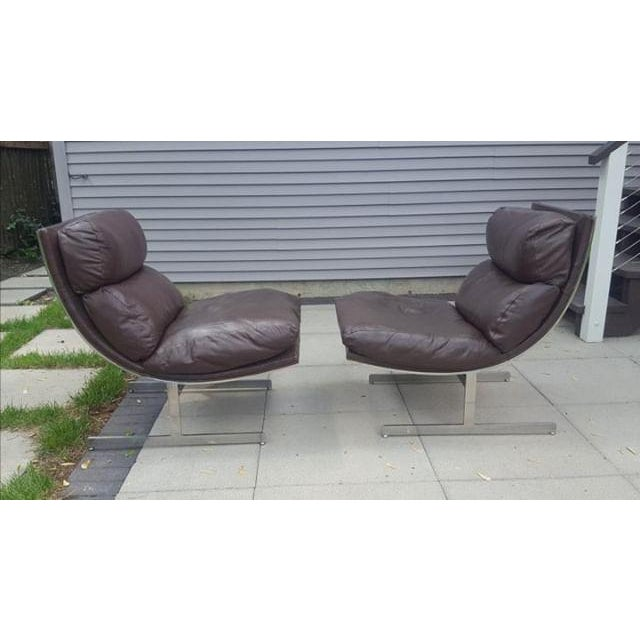 Mid-Century Modern Kipp Stewart for Directional Chrome Lounge Chairs - A Pair For Sale - Image 11 of 11