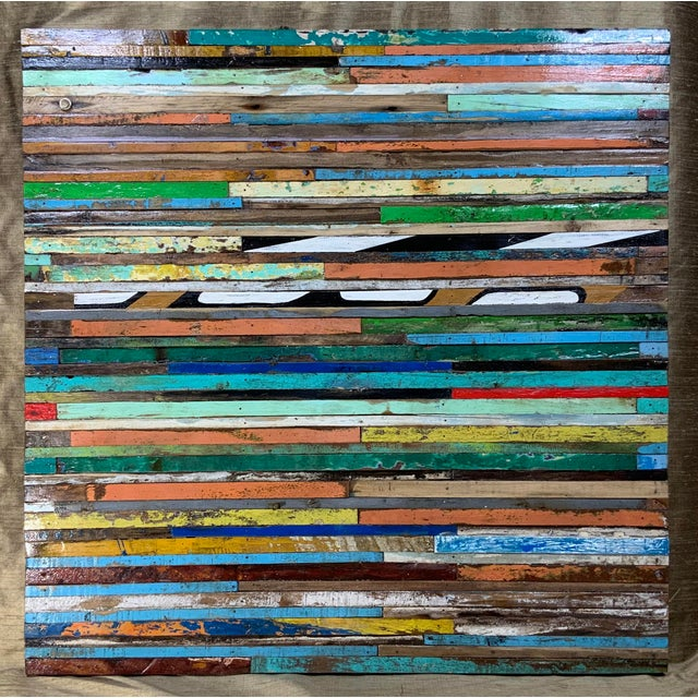 Abstract Reclaimed Wood Wall Sculpture For Sale - Image 4 of 13