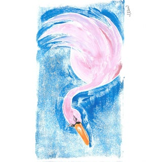 """""""Pink Swan"""" Contemporary Bird Monoprint For Sale"""