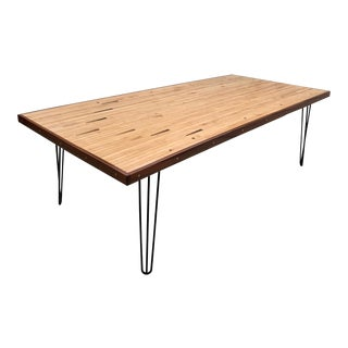 Reclaimed Bowling Alley Wood Table For Sale