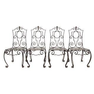 Jean-Charles Moreux Style Wrought Iron Chairs - Set of 4 For Sale