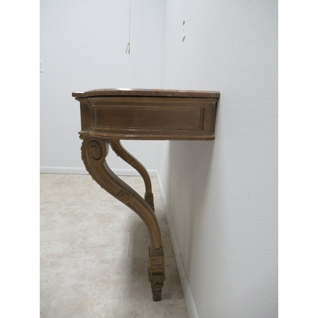 Gold Early French Victorian Marble Top Wall Hall Console Server Table For Sale - Image 8 of 13