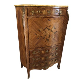 French Louis XVI Style Marquetry Inlaid Drop Front Secretary Abattant