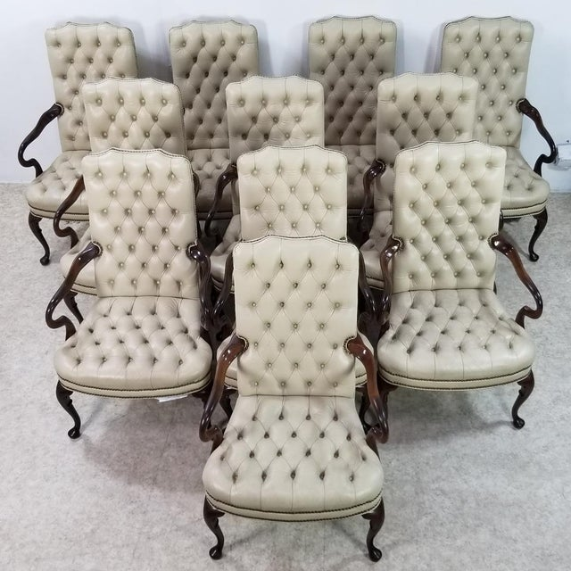 Beige Mid Century Executive Leather and Wood Tufted Chesterfield Armchair For Sale - Image 8 of 13
