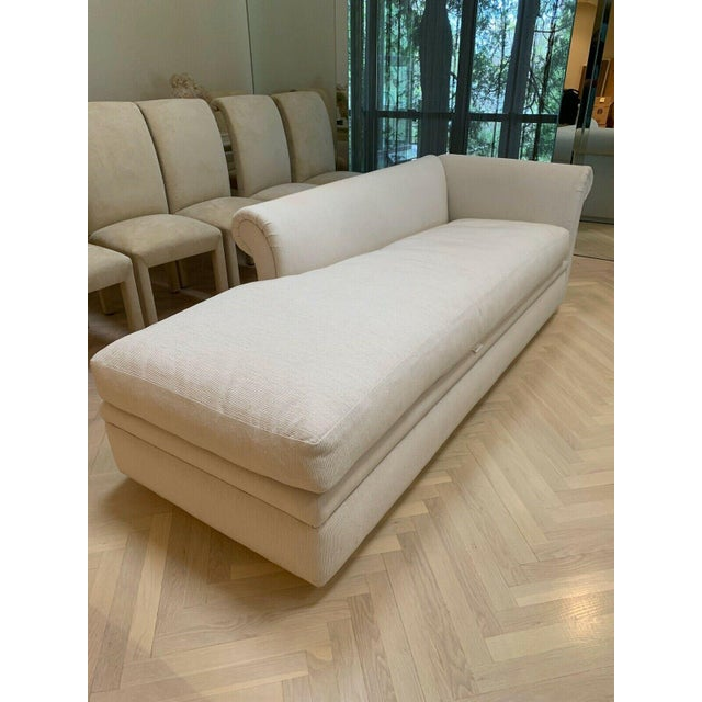 Custom Fainting Couch With Left Arm Rest and Textured Fabric For Sale In New York - Image 6 of 12
