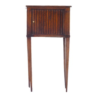 19th Century French Walnut Tambour Door Side Table For Sale