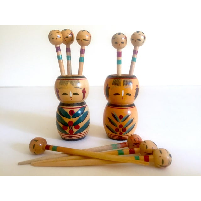 Vintage Mid Century Japan Rare Kokeshi Hand Painted Wood Hors d'Oeuvre Picks / Cocktail Skewers - 11pc Set For Sale - Image 10 of 13