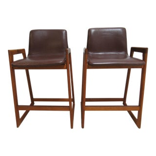 Vintage Teak Leather Danish Modern Stools - A Pair
