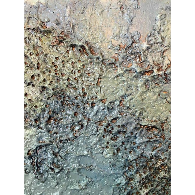 """Contemporary Earthy and Textural Painting """"My Malibu Blue"""" by Ricardo Ramirez For Sale"""