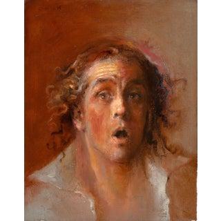 """Cherres Oil Painting """"Self Portrait 2-Surprised"""", Contemporary Portrait"""