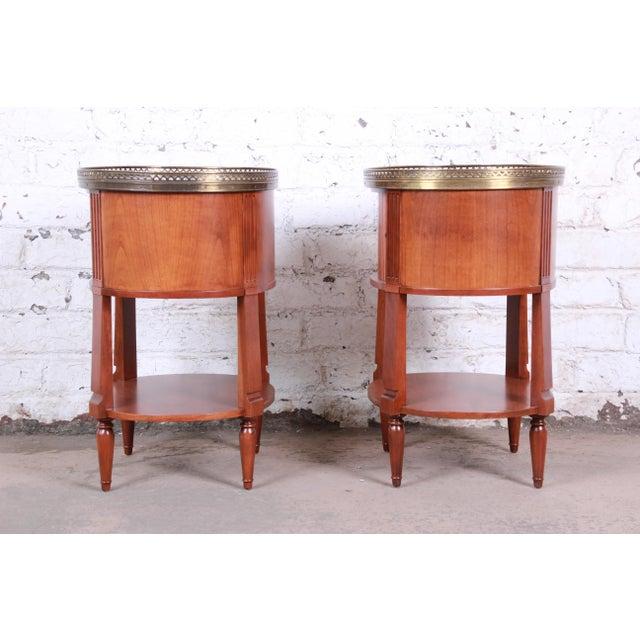 Baker Furniture French Regency Cherry and Brass Tambour Door Nightstands, Pair For Sale - Image 10 of 13