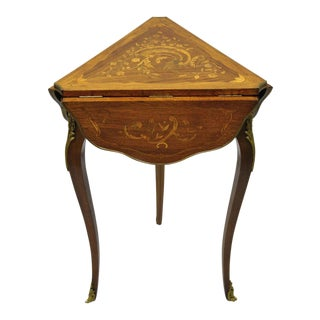 20th Century French Louis XV Satinwood Inlay Drop Leaf Side Table For Sale