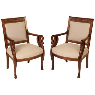 Empire Style Swan Carved Mahogany Armchairs - a Pair