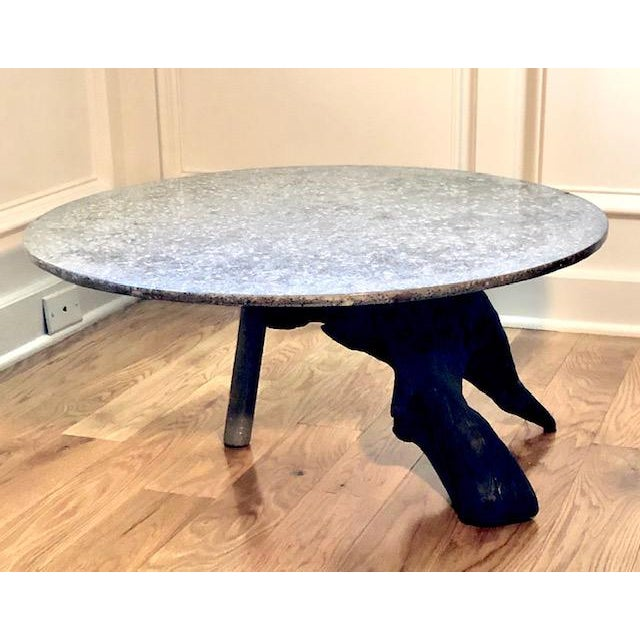 Organic Modern Tripod Driftwood and Terrazzo Concrete Accent Table For Sale - Image 4 of 4