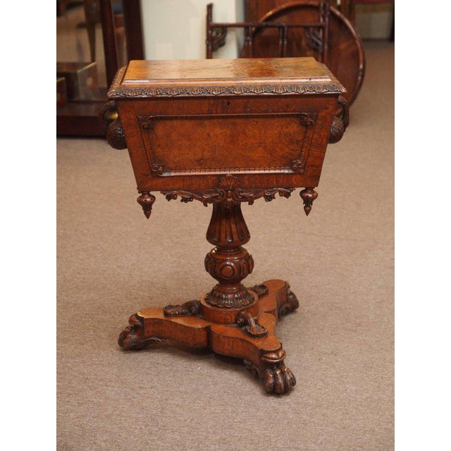 Antique English 19th Century Carved Burled Walnut Tea Poy For Sale - Image 9 of 9