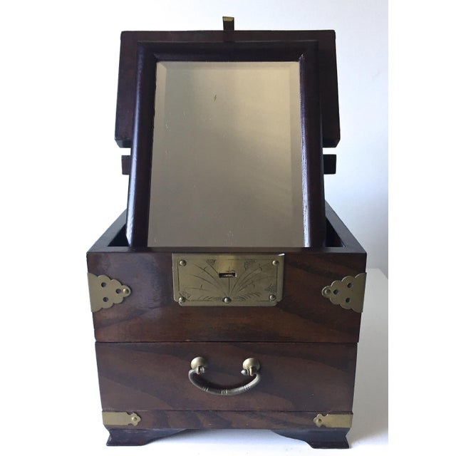 Antique Chinese Rosewood Traveling Vanity Mirror / Box For Sale - Image 9 of 9