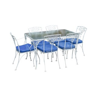 Woodard Ivy Vintage White Wrought Iron Patio Glass Top Table & 6 Chair Dining Set