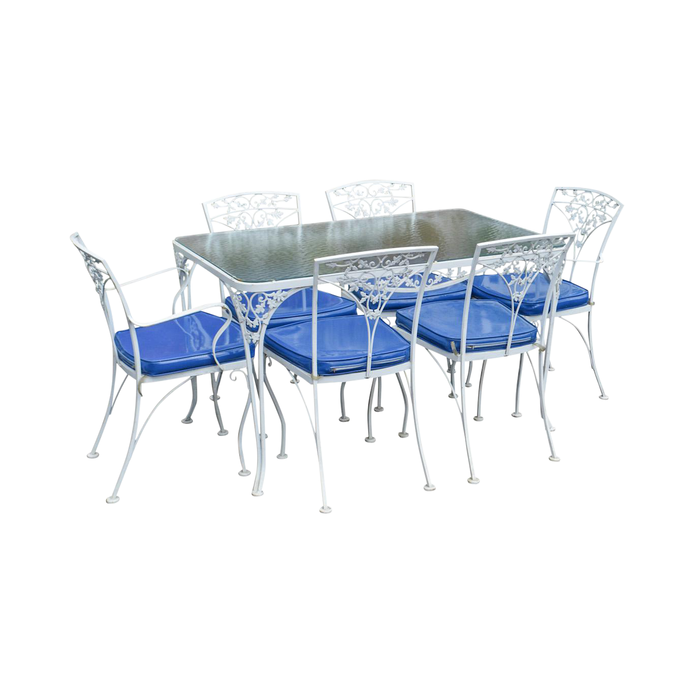 Woodard Ivy Vintage White Wrought Iron Patio Glass Top Table U0026 6 Chair  Dining Set
