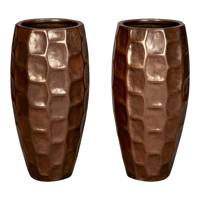 Pair Tall Mid-Century Textured Fiberglass Floor Vases With Bronze Overlay - Image 1 of 5