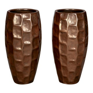 Tall Mid Century Textured Fiberglass Floor Vases With Bronze Overlay - Pair For Sale