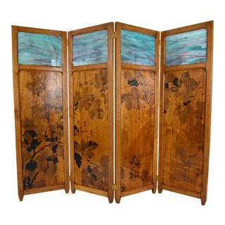1910s Art Nouveau Pyrographed Wood & Stained Glass Four-Panel Folding Screen, For Sale