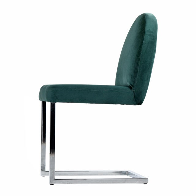 1970s Forest Green Velvet Milo Baughman Style Cantilever Chrome Dining Chairs For Sale - Image 4 of 7