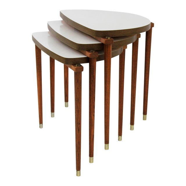 Mid-Century Modern Nesting Tables Half Moon - S/3 For Sale
