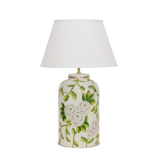 Dana Gibson White Chintz Tea Caddy Lamp For Sale