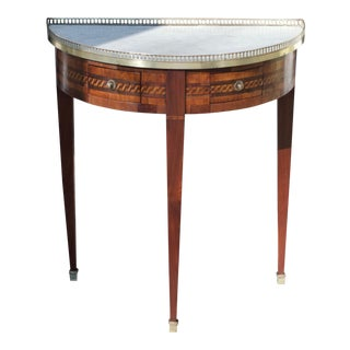 French Louis XVI Style Marble Top Demilune Console / Side Table For Sale