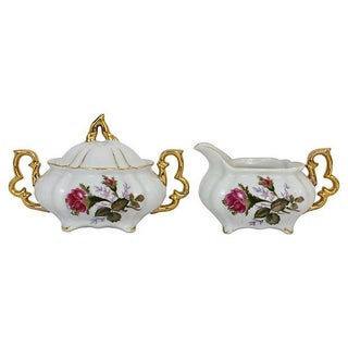 Ceramic Gilded Sugar & Creamer - A Pair For Sale