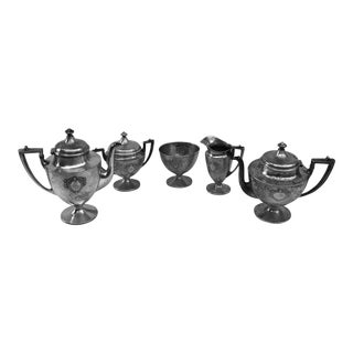 Victorian Hammered Silver Plated Sheffield Tea/Coffee Set - 5 Piece Set For Sale