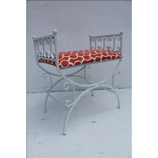 Red Arthur Umanoff The Granada Collections Iron Bench For Sale - Image 8 of 8