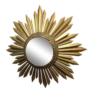 Gold Giltwood Framed Sunburst Mirror For Sale