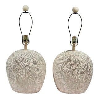 Mid Century Modern Naturalist Plaster Sculptural Brain Coral Lamps With Original Linen Empire Shades - a Pair For Sale