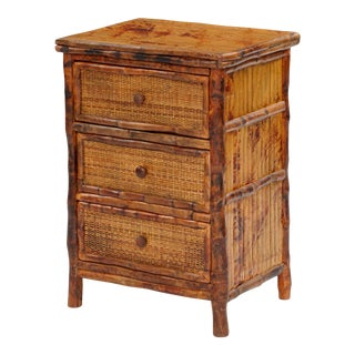 3 Drawer Side Cabinet, Brown, Rattan For Sale