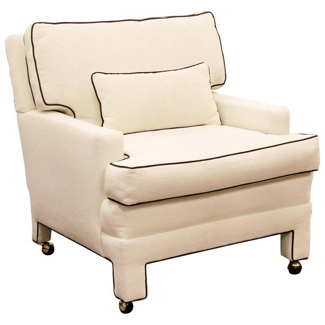 Gold Mid-Century Modern Large White with Brown Trim Lounge Armchair For Sale - Image 8 of 8