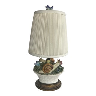 French Ceramic Snail and Floral Basket Table Lamp For Sale
