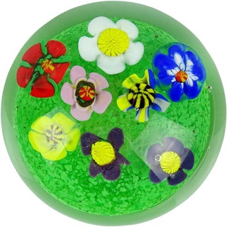 Murano Multi-Color Millefiori Wild Flower Garden Italian Art Glass Paperweight For Sale
