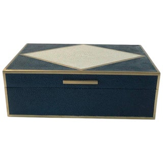 Navy Blue and Natural Shagreen Box With Brass Inlay