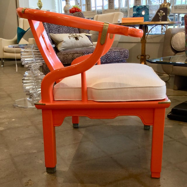 Mid 20th Century Orange Lacquer Ming Chairs - a Pair For Sale In Dallas - Image 6 of 7