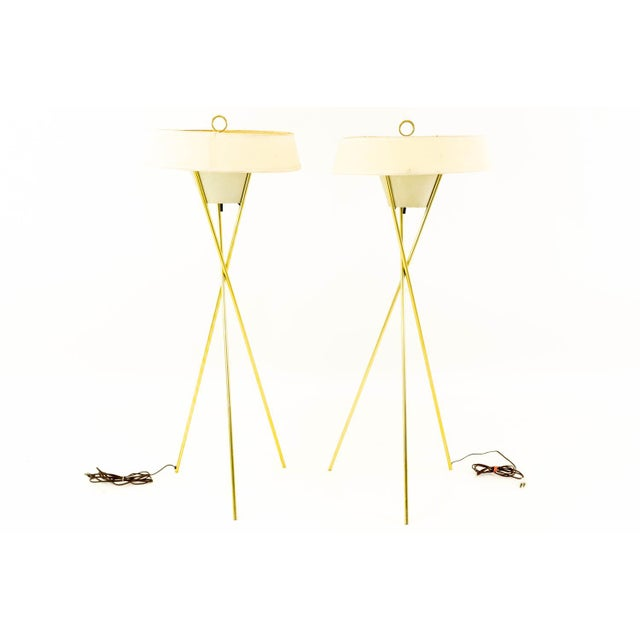 Gerald Thurston for Lightolier Mid Century Brass Tripod Floor Lamps - Pair 18 wide x 18 deep x 48.5 inches high Good...
